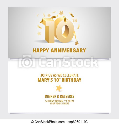 10 Years Anniversary Invitation Card Vector Illustration Template Design