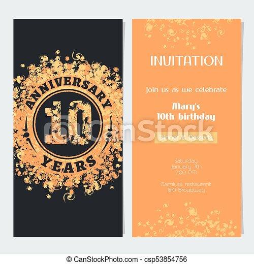 10 Years Anniversary Invitation To Celebration Event