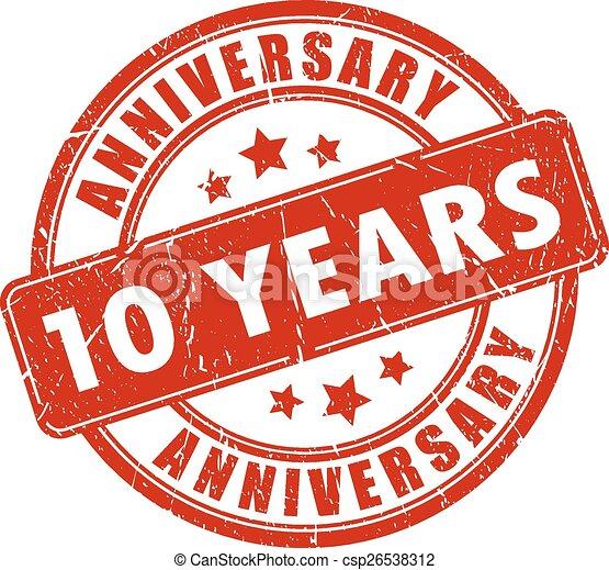 10 years anniversary stamp - csp26538312