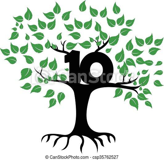 10 Years Anniversary Tree Logo - csp35762527