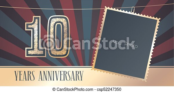 10 Years Anniversary Vector Emblem Logo In Vintage Style Template
