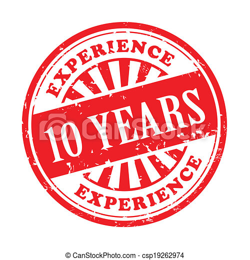 10 years experience grunge rubber stamp - csp19262974
