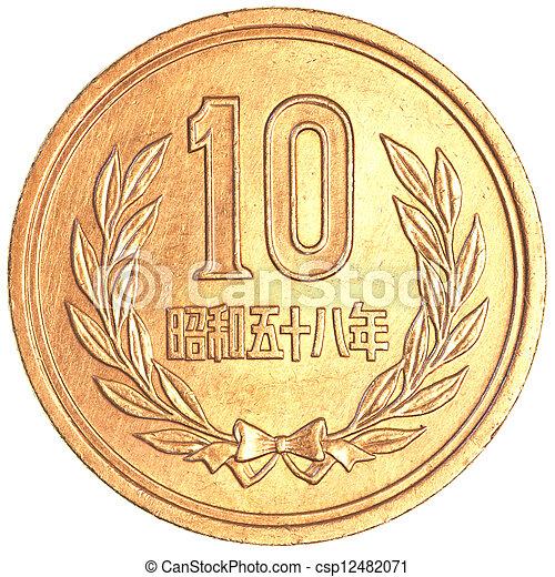 10, yen, japansk, mynt - csp12482071