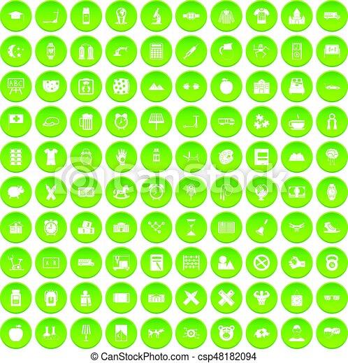 100 alarm clock icons set green circle - csp48182094