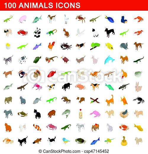 100 animals icons set, isometric 3d style - csp47145452