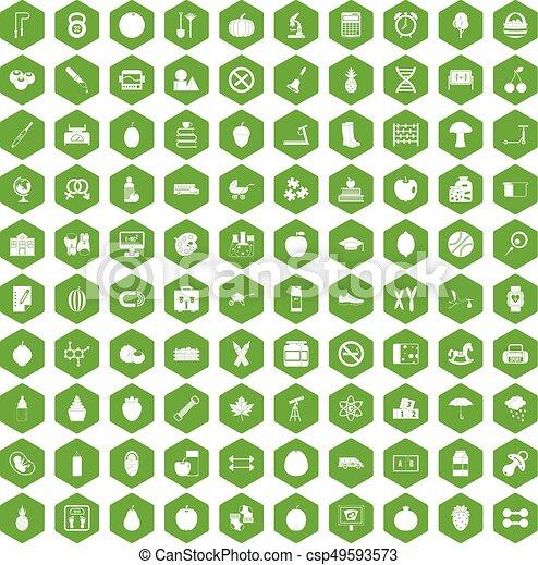 100 apple icons hexagon green - csp49593573