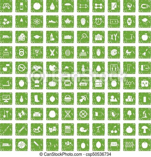 100 apple icons set grunge green - csp50536734
