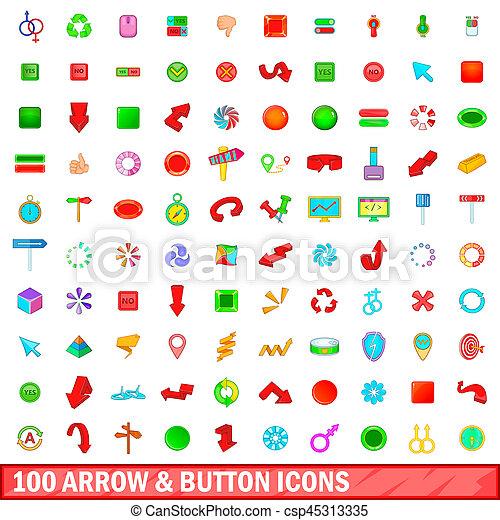 100 arrow and button icons set, cartoon style - csp45313335