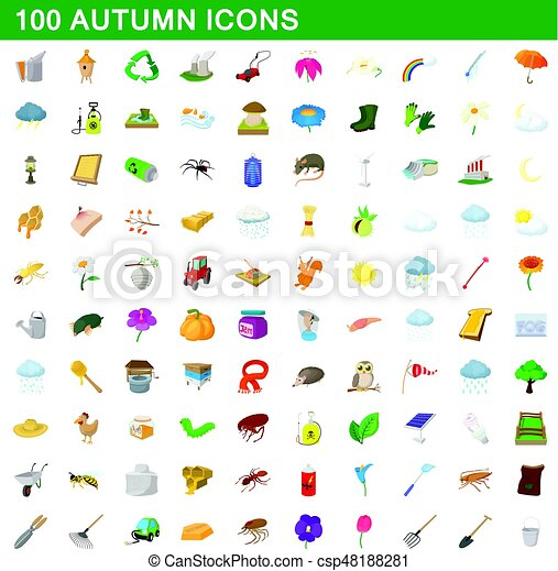 100 autumn icons set, cartoon style - csp48188281