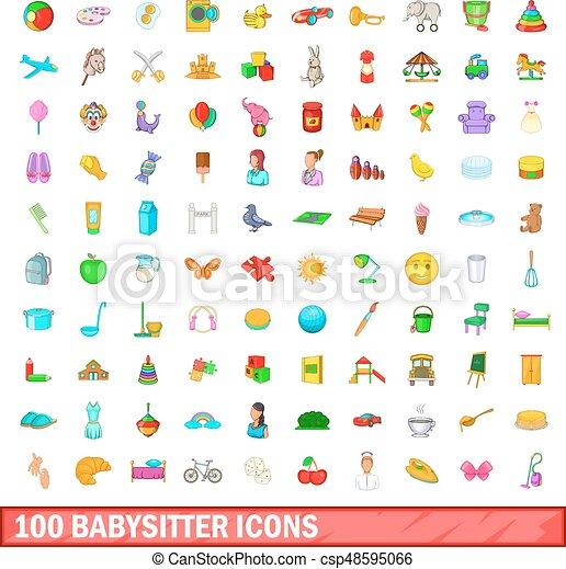 100 babysitter icons set, cartoon style - csp48595066
