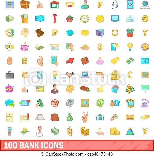 100 bank icons set, cartoon style - csp46175140