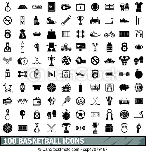 100 basketball icons set, simple style - csp47079167