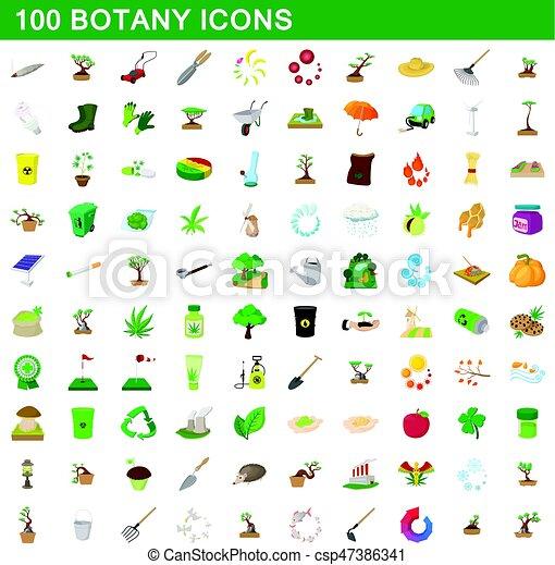 100 botany icons set, cartoon style - csp47386341
