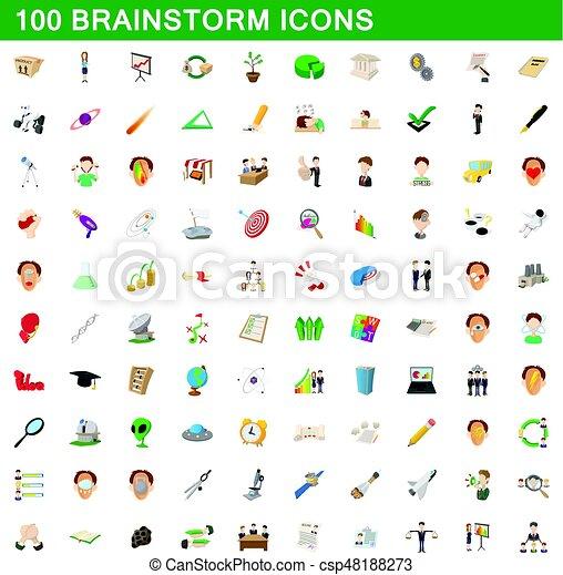 100 brainstorm icons set, cartoon style - csp48188273