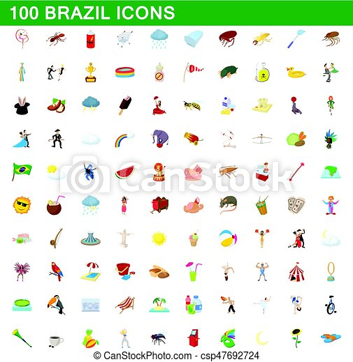 100 brazil icons set, cartoon style - csp47692724