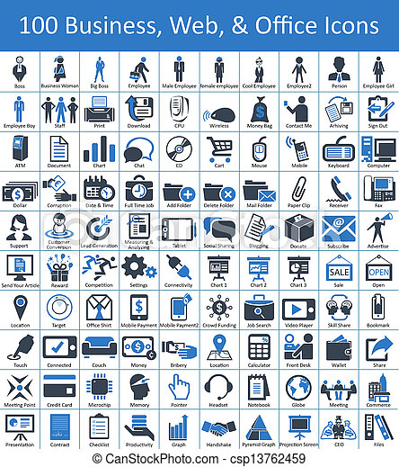 100 Business, Web, and Office Icons - csp13762459