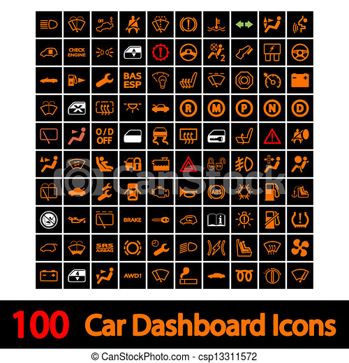 100 Car Dashboard Icons. - csp13311572