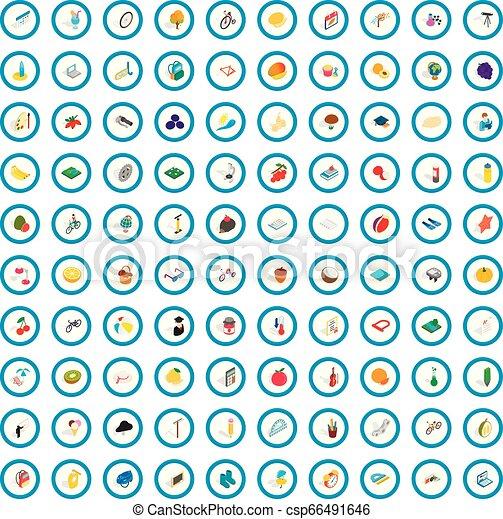 100 childhood icons set, isometric 3d style - csp66491646
