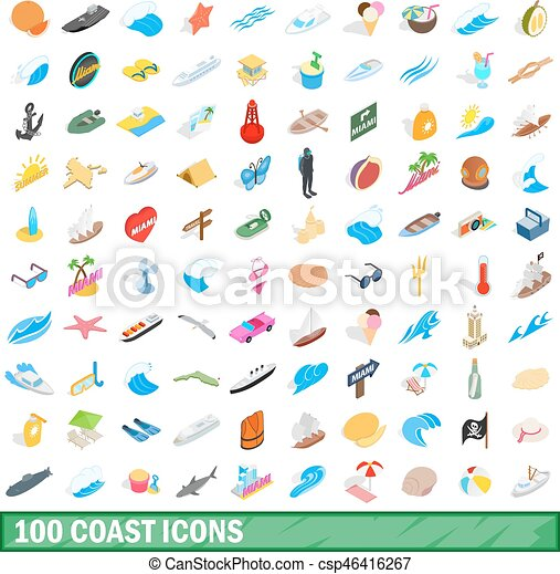 100 coast icons set, isometric 3d style - csp46416267