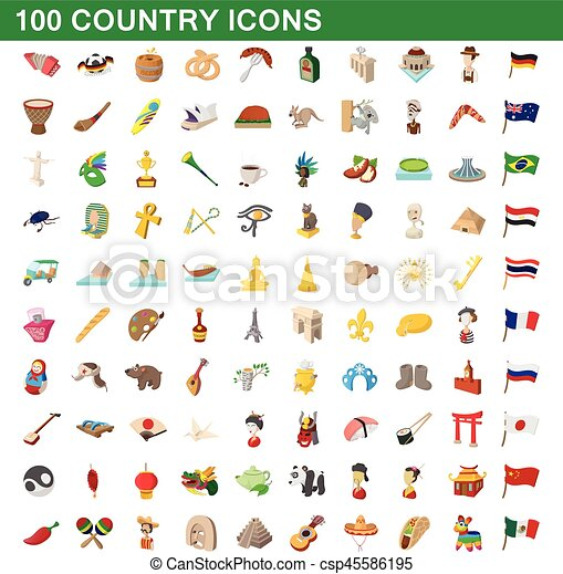 100 country icons set, cartoon style - csp45586195