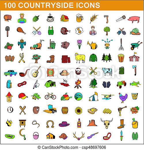 100 countryside icons set, cartoon style - csp48697606