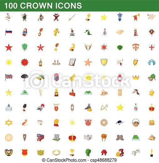 100 crown icons set, cartoon style - csp48688279