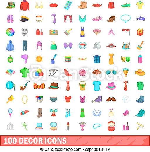 100 decor icons set, cartoon style - csp48813119