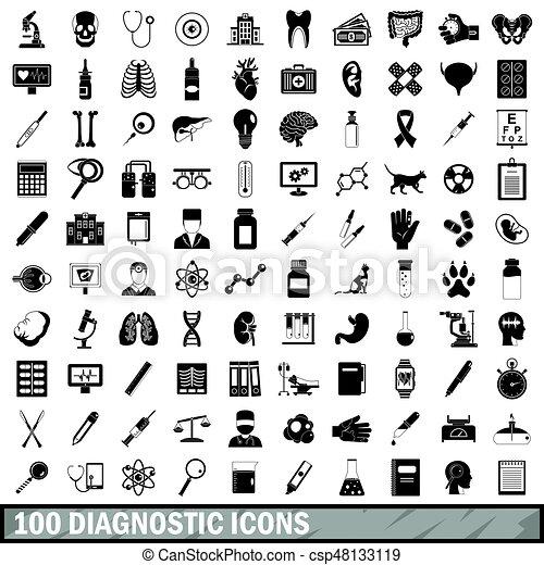 100 diagnostic icons set, simple style - csp48133119