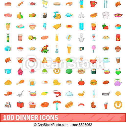 100 dinner icons set, cartoon style - csp48595062
