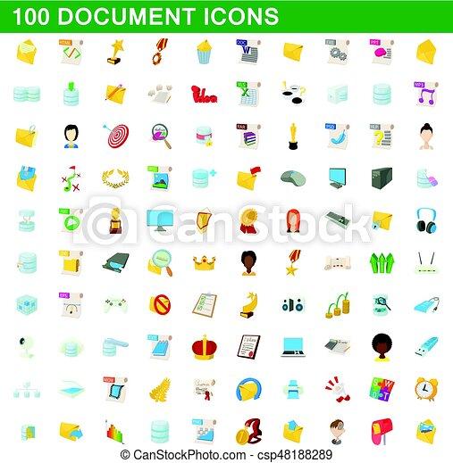 100 document icons set, cartoon style - csp48188289