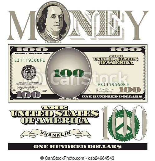 100 dollar bill elements - csp24684543