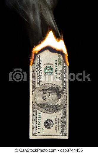 100 Dollar Bill On Fire - csp3744455