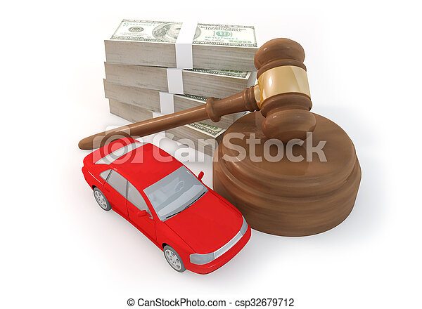 100 dollars stack and auction with car - csp32679712