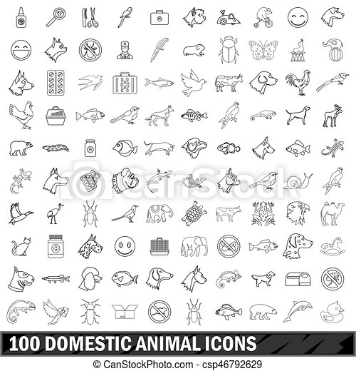 100 domestic animal icons set, outline style - csp46792629