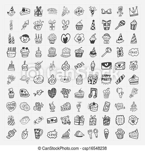100 Doodle Birthday party icons set - csp16548238