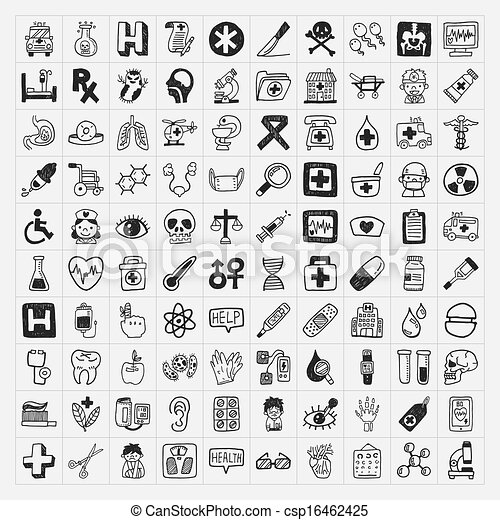 100 doodle Medical icons set - csp16462425
