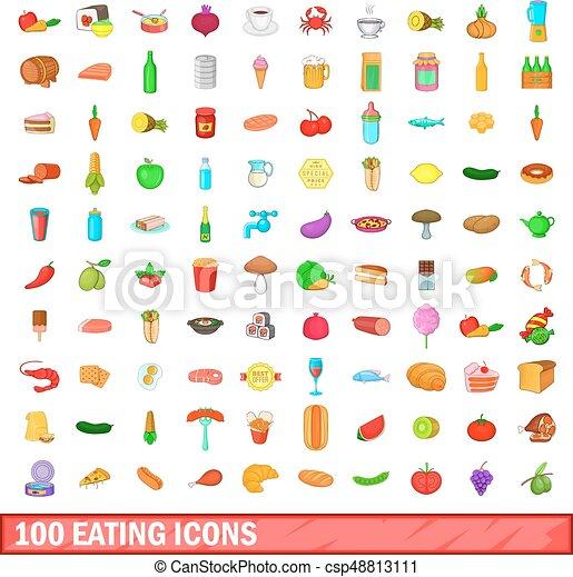100 eating icons set, cartoon style - csp48813111