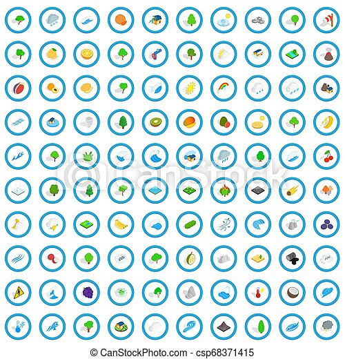 100 ecology icons set, isometric 3d style - csp68371415