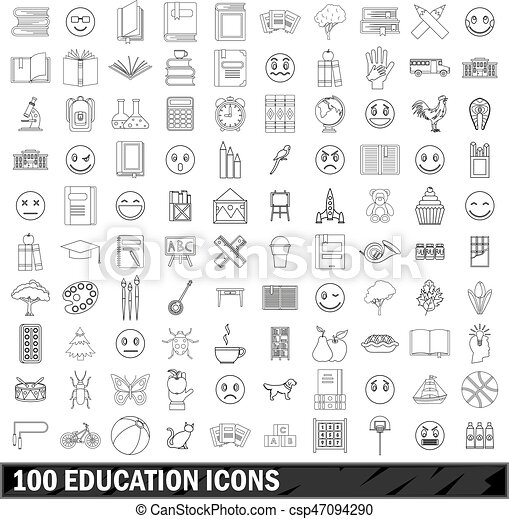100 education icons set, outline style - csp47094290