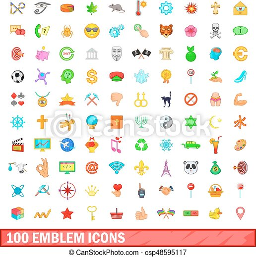 100 emblem icons set, cartoon style - csp48595117