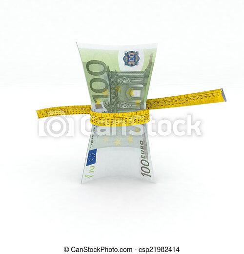 100 euro money in measuring tape - csp21982414