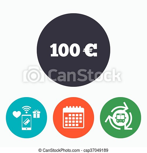 100 Euro Sign Icon Eur Currency Symbol Money Label Mobile