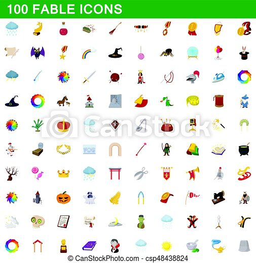 100 fable icons set, cartoon style - csp48438824