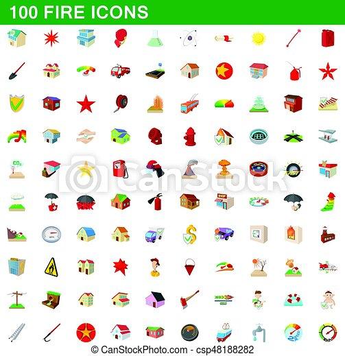 100 fire icons set, cartoon style - csp48188282