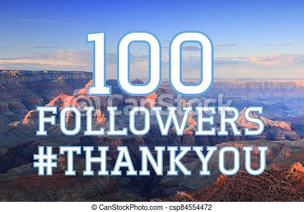 100 followers banner - csp84554472