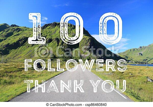 100 followers sign - csp86460840