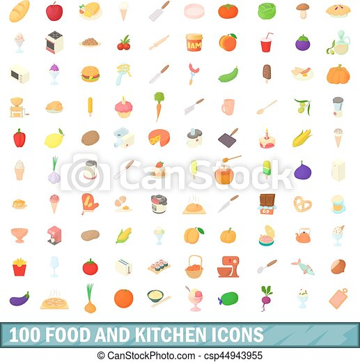 100 food and kitchen icons set, cartoon style - csp44943955