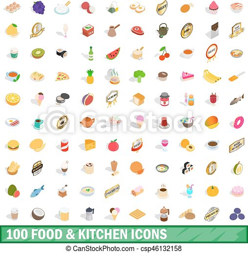 100 food and kitchen icons set, isometric 3d style - csp46132158
