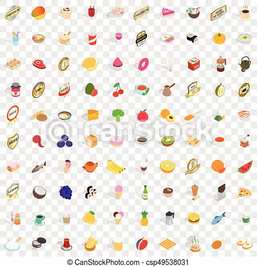100 food and kitchen icons set, isometric 3d style - csp49538031