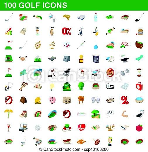 100 golf icons set, cartoon style - csp48188280